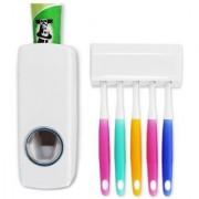 Unique Cartz Automatic Toothpaste Dispenser And Tooth Brush Holder Set Random Color