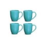 Conjunto de Canecas Pois Azul em Cerâmica 340 ml com 04 Peças - Porto