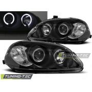 Přední světla, lampy Angel Eyes Honda Civic 95-99 černá, 2dv, 3dv, 4dv