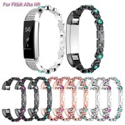 Bakeey Replacement Stainless Steel Crystal Colorful Smart Watch Band for Fitbit Alta Fitbit HR