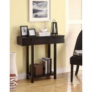 Modern styling espresso finish wood hall table sofa console entry table with lower shelf