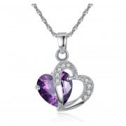 Colgantes De Moda Corazón De Cristal -Púrpura