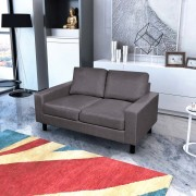 vidaXL Canapea cu 2 locuri, material textil, gri închis