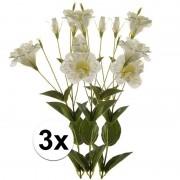 Bellatio flowers & plants 3x Wit/Groene Lisianthus kunstbloemen takken 85 cm