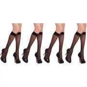 Yorker Ultra-Thin Transparent knee Length Nylon Stocking Socks for women/Girl's Combo Pack Of 4 Pair