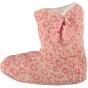 Apollo Roze hoge huispantoffels/sloffen panterprint voor dames