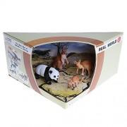 MagiDeal Realistic 3D Scene Box of Animal Families Model Kids Science & Nature Toy Playset - Kangaroos Panda Family