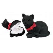 Fekete színű, cica alakú ékszertartó doboz