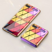 GKK Folding Painted Tempered Glass Phone Case for Samsung Galaxy Z Flip - Colorful Triangle