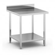 B2B Partner Nerezový pracovní stůl s policí, 800x800x850 mm