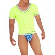 Icker Sea Contrast Trim V Neck Short Sleeved T Shirt Mango/Green CA-16-11