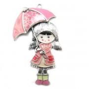 Muñeca plateada con paraguas rosa