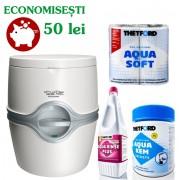 PACHET EXCELLENCE EM15: Toaleta PORTA POTTI 565P (Excellence manual) + saculeti dizolvare deseuri + solutie igienizare + hartie