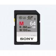 64GB SDXC, Sony SF-M, Class 10, UHS-II Class 3, скорост на четене 260MB/s, скорост на запис 100MB/s