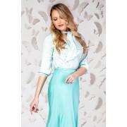 Bluza dama PrettyGirl turcoaz eleganta din satin cu croi larg si maneci trei-sferturi