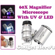 Gadget Heros Pocket 60X Magnifying Loupe With LED UV Light For Currency Checking Magnifier