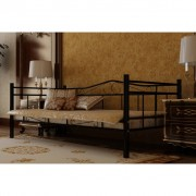 vidaXL Метално легло, черно, 90 х 200 см и матрак с мемори пяна