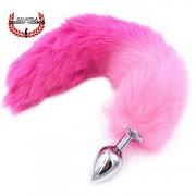 Plug Metalico anal 8cm con cola rosa Plug Sexo anal