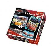 Set puzzle Trefl, Cars, 30/48 de piese + 24 Memos, Multicolor