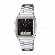 Reloj casero de la alarma de los hombres de casio AQ-230A-1DMQ - plata / negro (sin la caja)