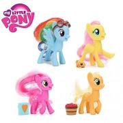 SOJITRA Friendship is Magic My Little Pony Toys Rainbow Dash Applejack Fluttershy Cheerilee PVC Action Figure -4pcs/set(Multicolor)