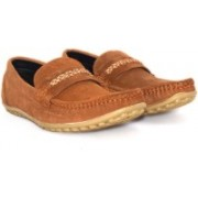 Alberto Calza Leather Suede Tie Loafers For Men(Tan)
