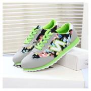 Zapatos Plano Coreana Versión Ocio Movimiento Floral 'N' Zapatos - Verde