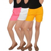Culture the Dignity Women's Solid Rayon Shorts With Side Pockets Combo of 3 - Baby Pink - White - Yellow - C_RSHT_P2WY - Pack of 3 - Free Size