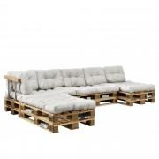 [en.casa]® Paletový interiérový nábytok - 4 x sedák, 6 x vankúš - biele