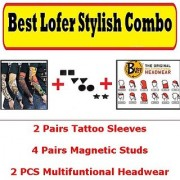 Best loafer Stylish Combo of 2 Tattoo Sleeves 4 pairs Magnetic Stud non Pierced Earrings 2 Buff Head wear CodeXD-1767