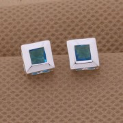 Cercei placati argint patrati cristal turcoaz Sara