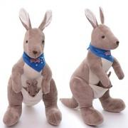 Mom Kangaroo With Baby Plush Stuffed Animal Dolls Toys Wear Blue Scarf 11 Inches
