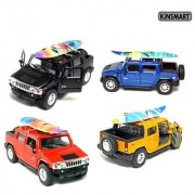 Set of 4: 5 2005 Hummer H2 SUT with Surf Board 1:40 Scale (Black/Blue/Red/Yellow) by Kinsmart