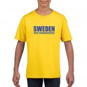Bellatio Decorations Geel Zweden supporter t-shirt voor kinderen