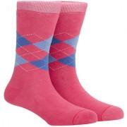 Soxytoes Sport Argyle Pink Cotton Calf Length Pack of 1 Pair Argyle for Men Athletic Sports Socks (STS0038B)