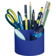 Suport plastic instrumente de scris Herliz 4 compartimente - Albastru