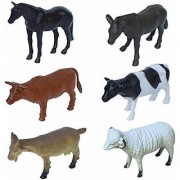 Cartoon Animal Pet Domestic Animals Figures Set for Kids Educational Toy Learning Toy - Big Size (Pack of 6 Pet Animals)