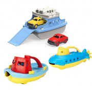 Green Toys Submarine (Yellow), Tugboat, and Ferry Bundle