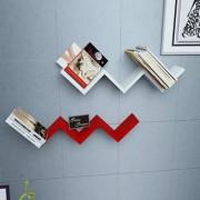 Onlineshoppee Handicraft W Shape Designer MDF Wall Shelf - Set Of 2 - Red White