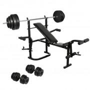 vidaXL Folding Weight Bench Dumbbell Barbell Set Home Gym