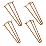 [en.casa]® Hairpin leg hajtűláb 35 cm stílusos asztalláb 4 darabos szett réz háromágú