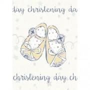 Felicitare botez Christening Day - model pantofiori