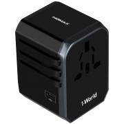 MOMAX 1-World 4 USB Ports + 1 Type-C Port Worldwide Travel Adapter Universal Travel Charger for iPhone X/8/8 Plus Etc. - Black