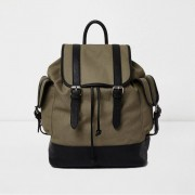 River Island Mens Khaki green canvas flap top backpack (One Size)