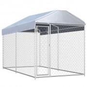 vidaXL Padoc de exterior cu prelată pentru câini, 382x192x235 m