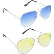 Hrinkar Aviator Sunglasses(Blue, Yellow)