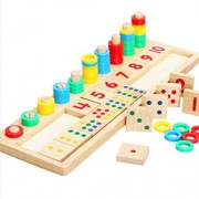 Bighub TOYMYTOY Wooden Count Match Numbers Educational Counting Toy for Children