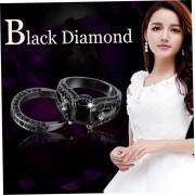 Anillo De Diamantes De La Sra Anodizado Negro Diamante Negro 8 Yardas-Negro E-ibuybuybuy