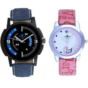 Blue Smarty Sporty With Lite Pink Peacock Feathers Couple Casual Analogue SCK Wrist Watch