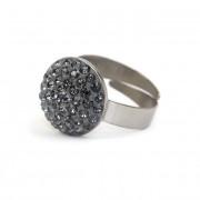 Dina Swarovski® kristályos nemesacél gyűrű - Silver Night